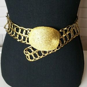 Accessories - Gold Round Medallion Woven Wire Belt Small/Medium